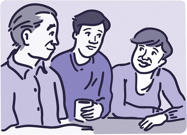 Illustration of parents talking with teenage son