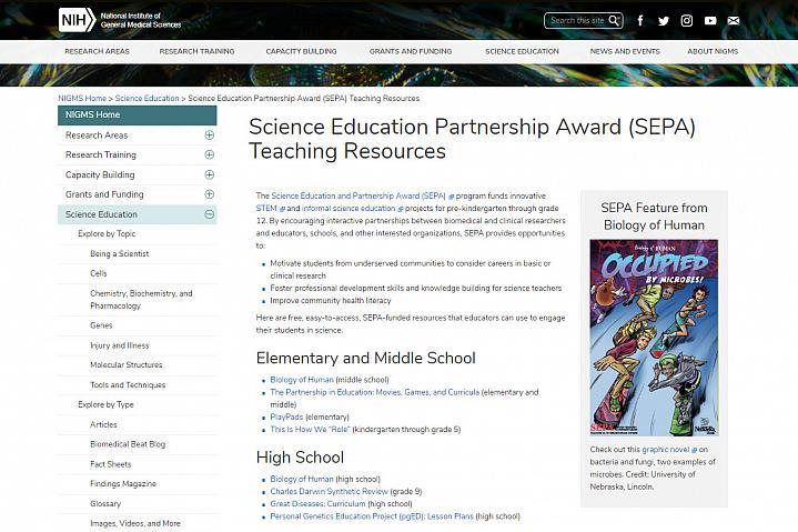 Screenshot STEM teaching tools website