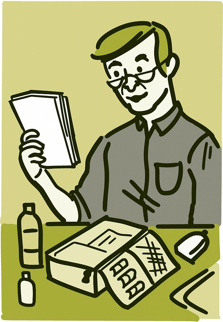 Illustration of a man putting together an emergency kit with medical supplies