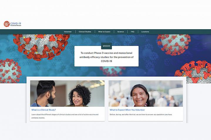 Screenshot of the COVID-19 Prevention Network website