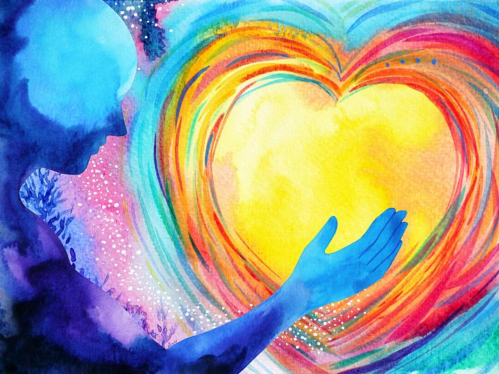 An abstract image of a person holding a heart