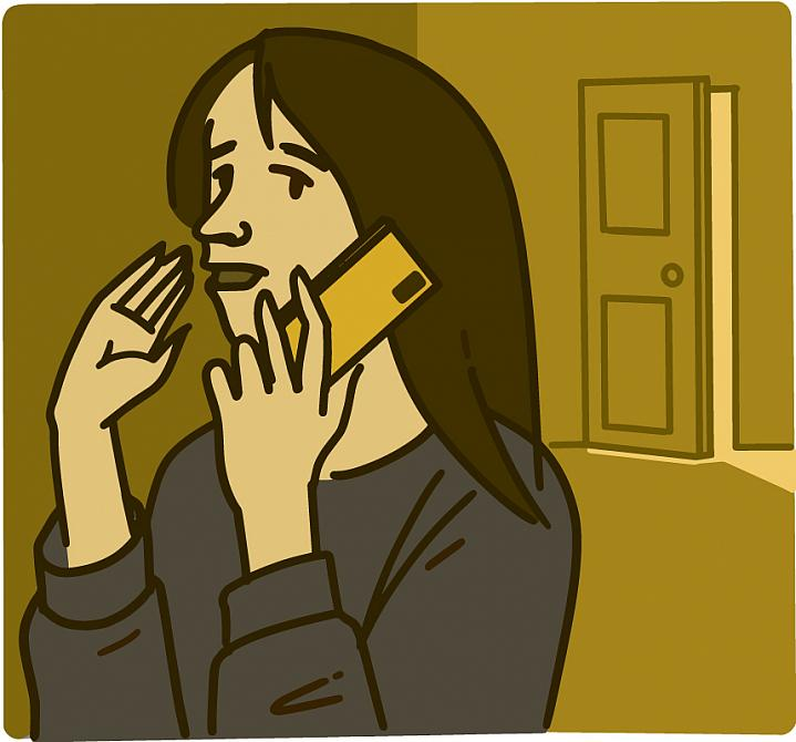 Illustration of a woman talking on her phone in private
