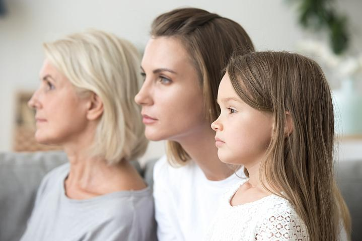 Portrait of a grandmother, mother, and daughter