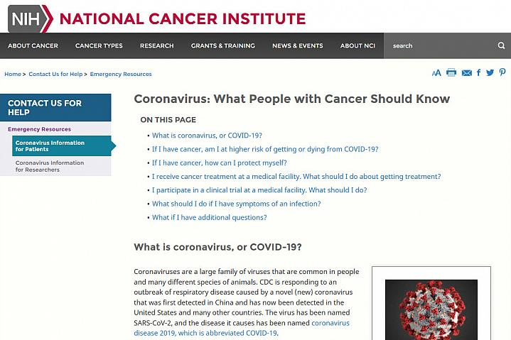Screenshot of the Coronavirus: What People with Cancer Should Know website