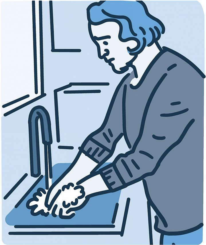 Illustration man feeling distressed washing hands