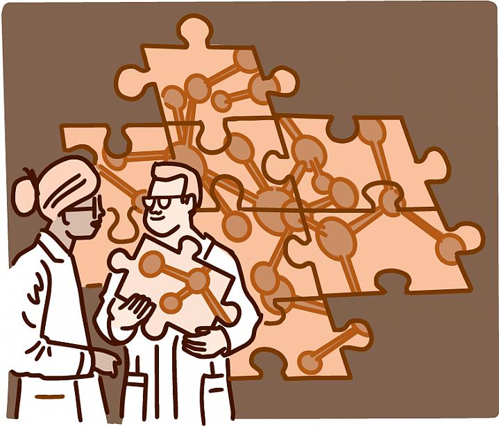 Illustration of two scientists talking in front of a puzzle of a complex molecule