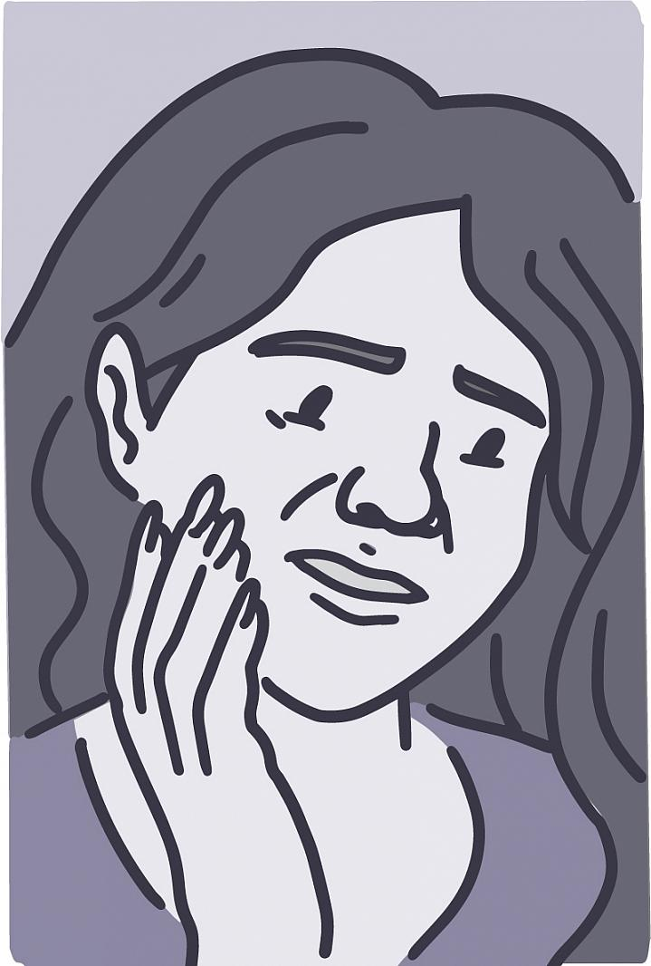 Illustration of a woman holding her jaw in pain