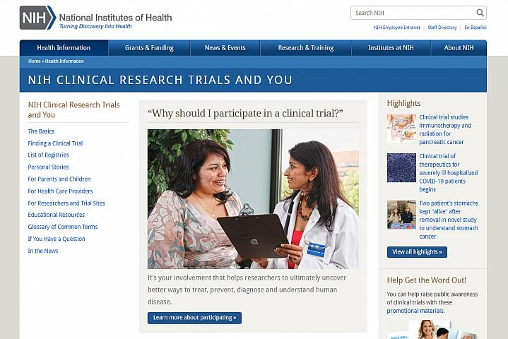 Screenshot of the NIH Clinical Trials and You website