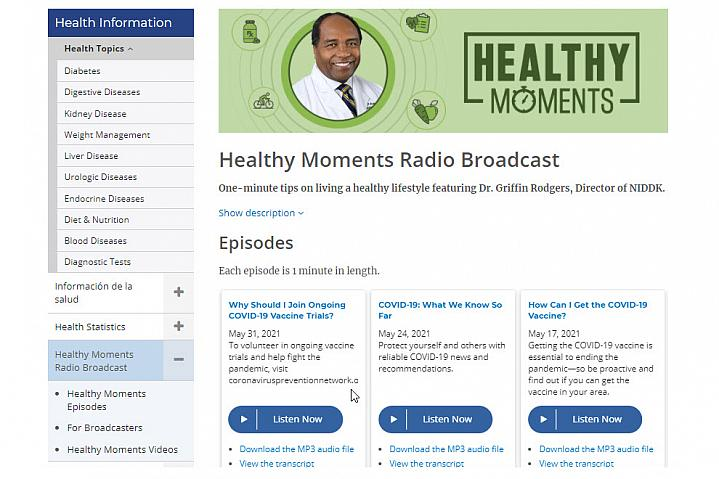 Screenshot of the Healthy Moments Broadcasts website