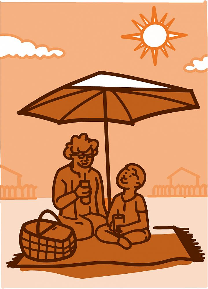 Illustration of a grandparent with their grandchild picnicking under an umbrella