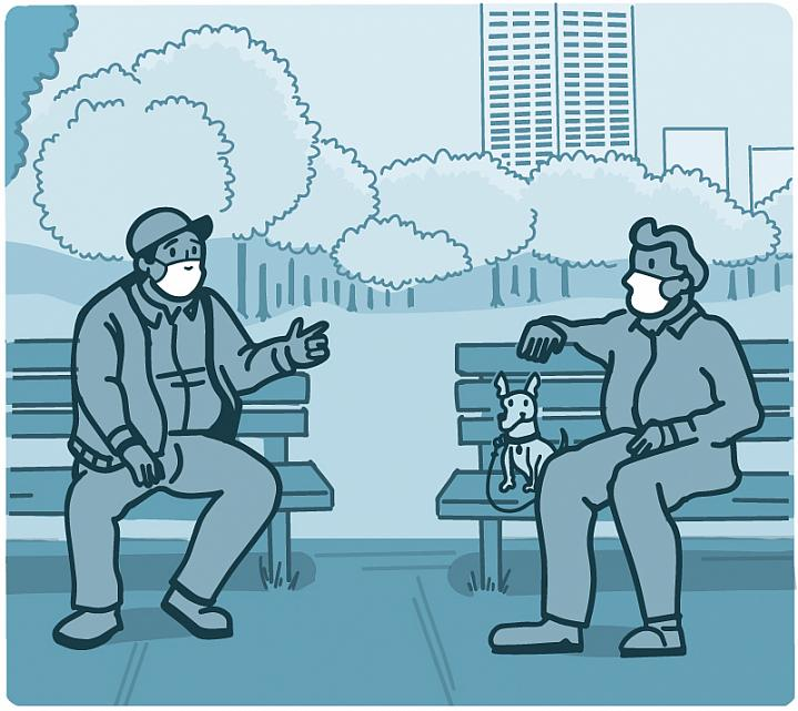 Illustration of two men wearing masks while sitting on park benches six feet apart