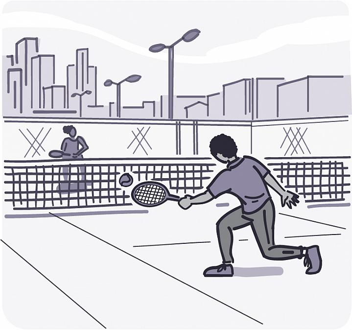 Illustration of two people playing tennis.