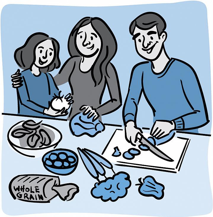 Illustration of a family preparing healthy food together