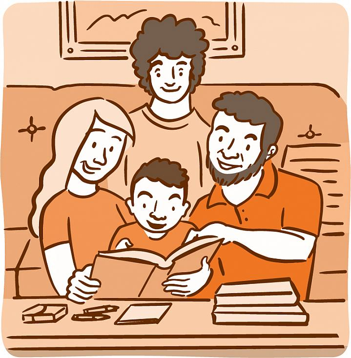 Illustration of a family reading with a child