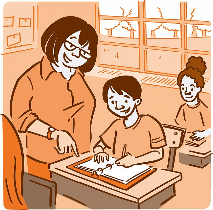 Illustration of a teacher helping young students in a classroom