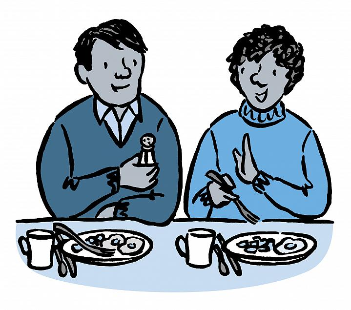 Illustration of a woman saying no to using a salt shaker