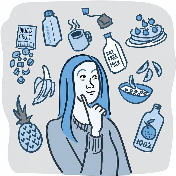 Illustration of woman surrounded by healthy foods without added sugar