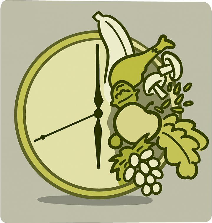 Illustration of food covering half of a clock